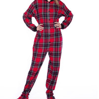 Red & Black Plaid Flannel Dropseat Footed Pajamas - Adult