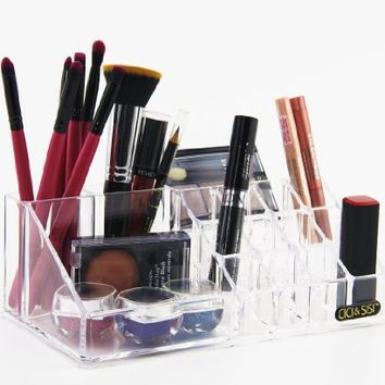 CICI&SISI Clear Acrylic Lipstick Holder, Brush Holder and Cosmetic Organizer