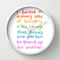 Ordinary Acts of Bravery - Divergent Quote Wall Clock by Tangerine-Tane | Society6