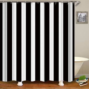 Black and White/American Flag Polyester Fabric Striped Shower Curtain Liner with Hooks