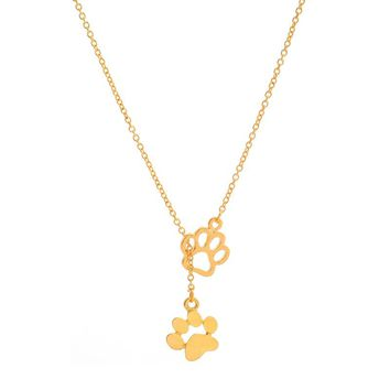 Fashion Paw Print Cat Dog Pendant Necklace Wolf Wild Animal Pet Memory Loss of Dog For Women Lovely Cute Puppy collar accessory
