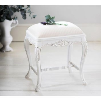Provencal White Tuffet Stool | Bedroom Stool
