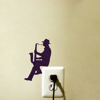 Light Switch Fabric Decal  - Saxophone Wall Sticker - Jazz Wall Art - Instrument Decor - Music Decal