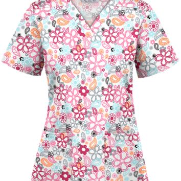 UA Tropical Breeze White Print Scrub Top | Floral Print Scrubs