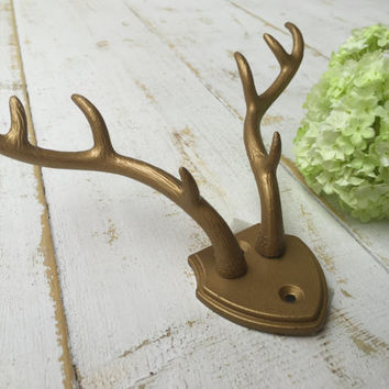 YOU PICK COLOR,Shown in Bold Gold,Faux Antlers,Small mountable deer antlers,Woodland hunting decor,home decor wall hooks,Man cave decor,Gift