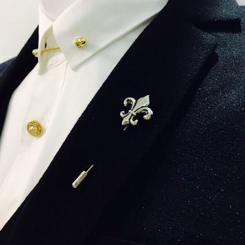 retro Gold silver bronze cross men Brooch Pin suit Accessories Lapel Pins for Men's Suit Wedding Party Long Pin brooch