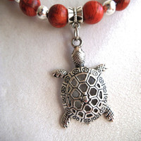 Silver Turtle Necklace with Red Organic Beads, Eco-Friendly Necklace, Vegan Jewelry, Symbolize Patience Stability