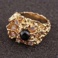 ELVIs Presley style   black saphire ring w diamond accents ***ATTENTIOn*** FASt***FREE***SHIPPING** HURRY!!! **
