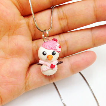Cute Snowman necklace, kawaii polymer clay necklace, miniature snowman pendant, cute winter jewelry, fun girls jewelry, birthday gift