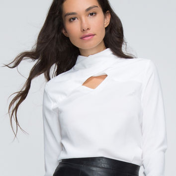 White Cross High Neck Cut Out Long Sleeve Blouse