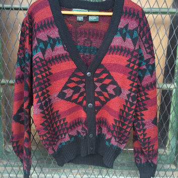 Mens vintage clothing Cardigan ski Sweater Bright Multicolor Southwest Geometric Design Pattern