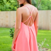 Friday Night Bright Dress-Neon Coral - NEW ARRIVALS