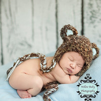 READY Baby Bear Hat - Baby Hat - Baby Boy Hat Soft Textured Teddy Bear with Earflaps & Ties Newborn to 12 months