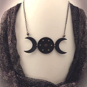 Triple Moon Goddess bib necklace - laser engraved leather - moon necklace