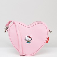 Lazy Oaf x Hello Kitty Heart Shaped Embroidered Cross Body Bag at asos.com