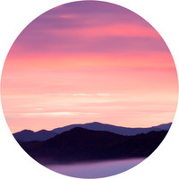 Rocky Mountain Sunset Circle Wall Decal