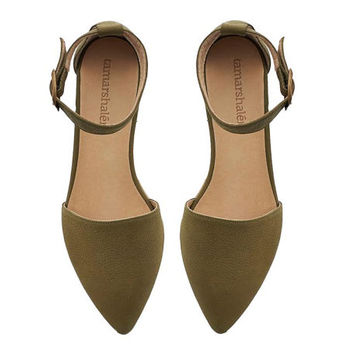 NEW, Alexa olive Sandals , Olive flats , Leather shoes, Leather Flats, Handmade shoes by TamarShalem on Etsy