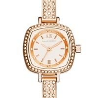 Women's AX Armani Exchange Crystal Encrusted Bangle Watch, 22mm - Rose Gold