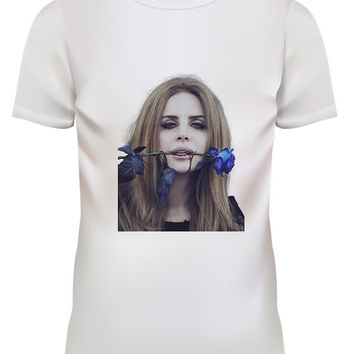 Unisex Lana Del Rey Blue Rose Pop Punk Rock White T Shirt Size S M L XL