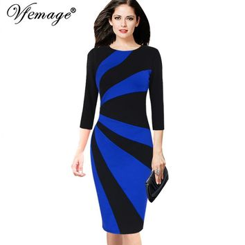 Womens Elegant Contrast Patchwork 3/4 Sleeves Colorblock Wear To Work Official Business Party Bodycon Pencil Dress