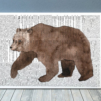 Bear poster Animal print Grizzly print Dictionary decor RTA2094