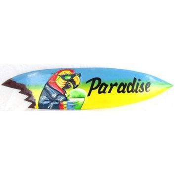 Hand Carved Wood Paradise Surfboard Sign Parrot Head Drinking