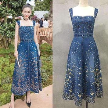 Womens slim Empire Sequined Slashed Neck Sleeveless Jeans Dress Embroidery Tank Dress