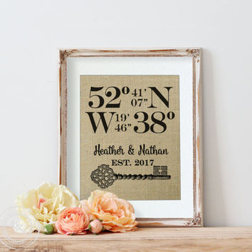 Bridal Shower Gift | Wedding Gift | Latitude Longitude Sign | Birthday Gift | Housewarming Gift | Our First Home | GPS Coordinates