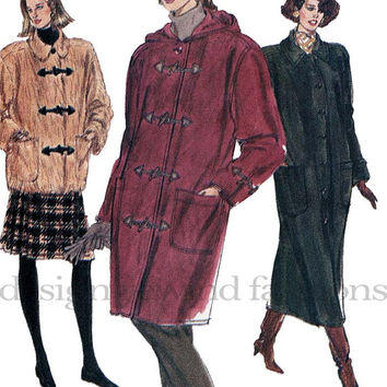 1990s Misses'/Petite Loose-Fitting Straight Coat w/ Collar or Hood Dropped Shoulders Vogue 7901 Bust 40 42 44 UNCUT Vintage Sewing Patterns