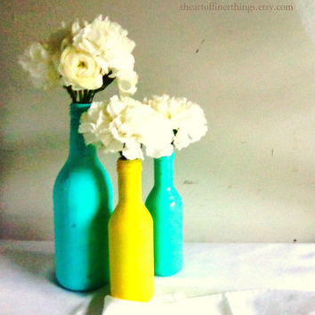 Trio Aqua & Yellow Decorative Shabby Beach Chic Nautical Summer Painted WIne Bottles bottle Vases