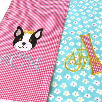 Boston Terrier Baby Burp Cloth Set of 2 Pink and Teal Personalized with name