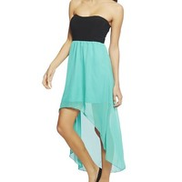 Wet Seal Women's 2fer Knit Chiffon High Low Dress