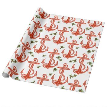 Vintage Anchor Red Christmas Wrapping Paper