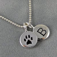 Initial and Paw Print Charm Necklace - Sterling Silver, Dog Paw, Cat Paw, Pet Jewelry