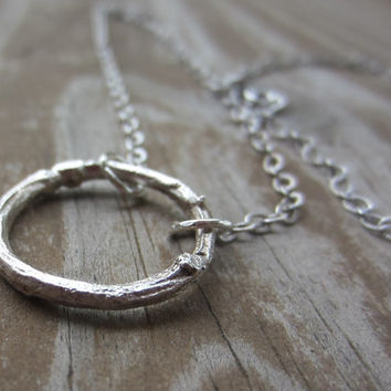 Sterling Silver Twig Eternity Necklace, Silver Eternity Neckalce, Botanical Jewelry