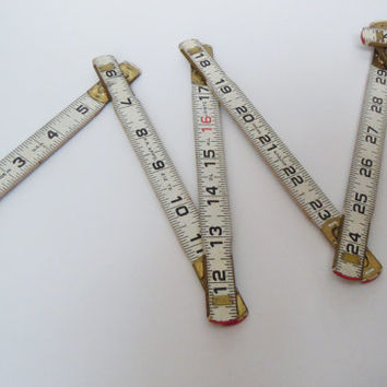 Vintage Lufkin Folding Ruler | Red End 6 Foot Ruler | 72 Inch Lock Joints Lufkin Ruler | Collectible Carpenter Tool | Great Fathers Day Gift