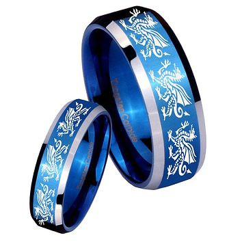 His Hers Multiple Dragon Beveled Blue 2 Tone Tungsten Mens Engagement Ring Set