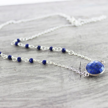 Lapis Lazuli Necklace, Dark Blue Necklace, Blue Gemstone Necklace, Sterling Silver Necklace, Wire Wrap Necklace, Royal Blue Necklace