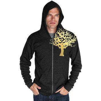 "Yoga Clothing for You Mens ""Gold Tree of Life"" Lightweight Thermal Zippered Hoody"