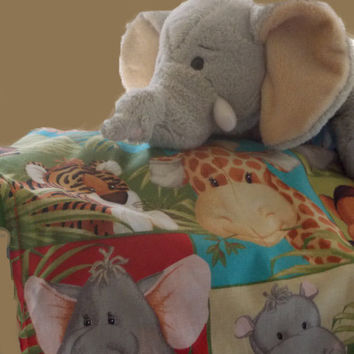 Justice the Elephant Critter Blanket,lovey blanket, animal security blanket