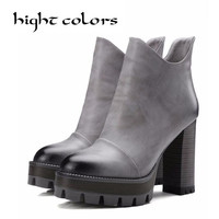 Size 10 Women High PU Leather Platform Shoes Zip Ankle Knight Boots Chunky Heel Pumps Sexy Vintage Platform High Heels