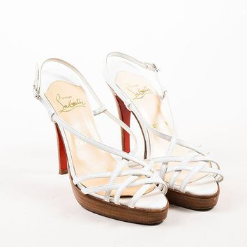 PEAP Christian Louboutin White Leather Strappy Sandal Heels