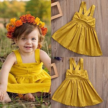 Nice Toddler Infant Kids Baby Girls Dresses Bow Cute Sleeveless Princess Party Girl Tutu Dress New Summer