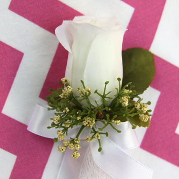 White Boutonniere With Bow - Fabric Flower Wedding Boutonniere - Ivory Cream Boutonniere (ready to be shipped)