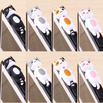 3pcs/set Fashion style Cheese Cat 3.5mm Anti Dust arphone Jack Plug Stopper Cap For iphone For sumsang For htc For Xiaomi Meizu