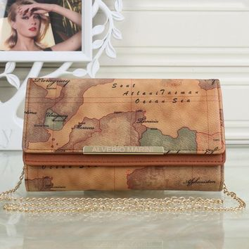 """Louis Vuitton"" Retro Fashion Map Wallet Metal Chain Single Shoulder Messenger Bag Women Double Layer Flip Clutch Purse"