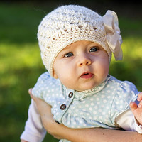 Baby Girl Hat - Crochet Baby Beanie in Ivory, Baby Girl Beanie, Infant Hats, Hats for Girls,