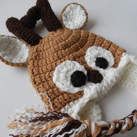Crochet Reindeer Hat Photo Prop - Crochet - Baby