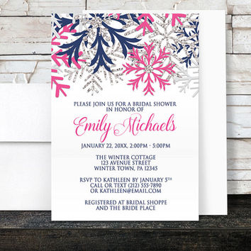 Winter Bridal Shower Invitations - Navy Fuchsia Pink and Silver Snowflake design on White - Printed Invitations