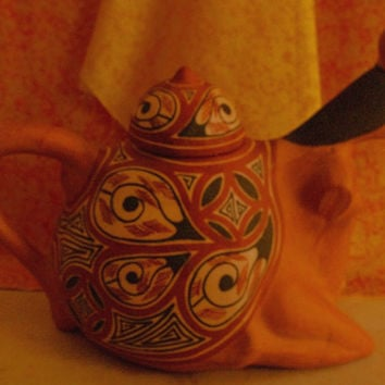 Unique Vintage Ceramic Red Clay Pueblo Pottery Pitcher Made in Lara Quibor Venezuela